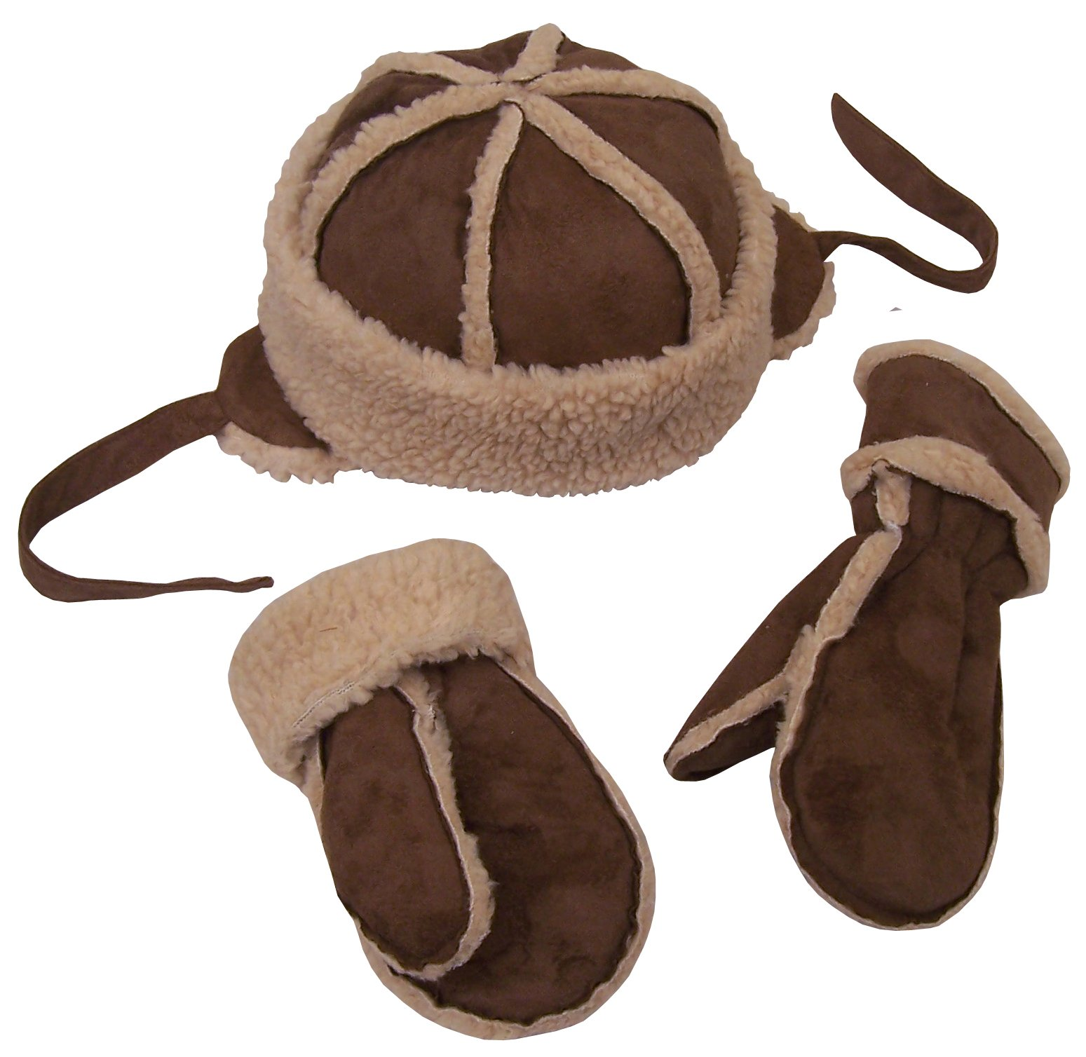NICE CAPS Little Kids and Toddler Unisex Suede Micro Fiber Hat and Mitten Winter Snow Headwear Accessory Set With Sherpa Lining - Fits Boys Girls Sizes