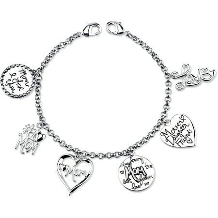 Stainless Steel Mom Heart Charm Link Bracelet, 7.5""