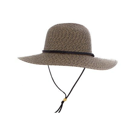 Women's Sun Protecting Wide Brim Straw Hat w/ Chin Strap Coffee (Chin Strap Sun Hat)