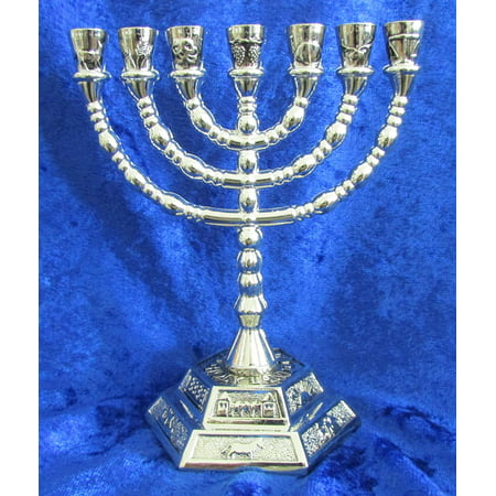 12 Tribes of Israel Jerusalem Temple Menorah choose from 3 Sizes Gold or Silver (Silver, 5