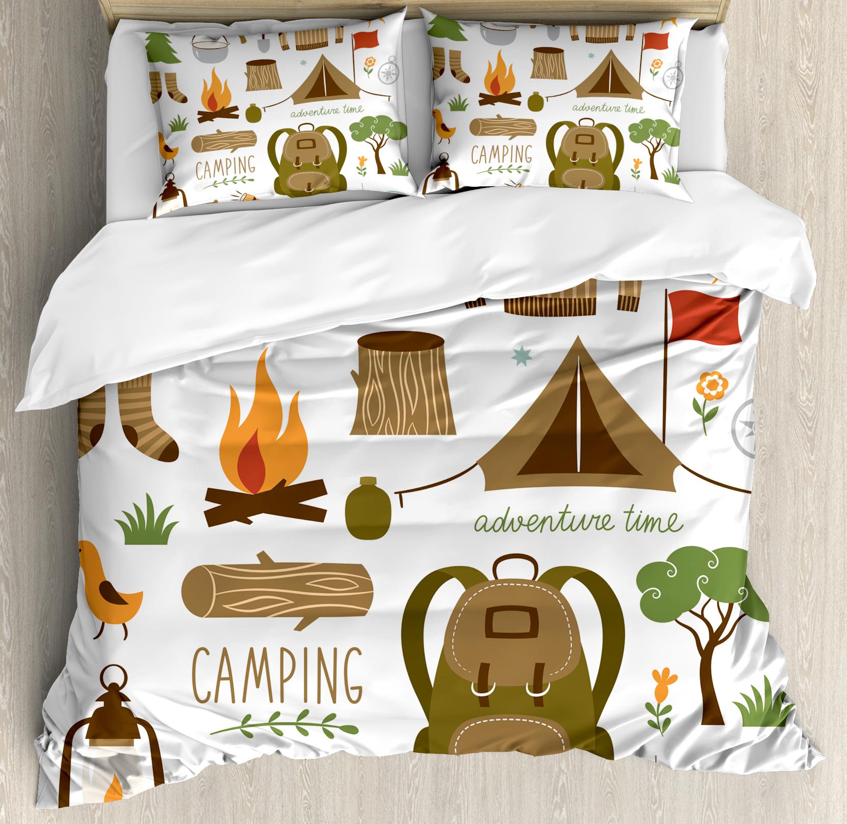 Adventure Queen Size Duvet Cover Set, Camping Equipment Sleeping Bag Boots Campfire Shovel Hatchet Log Artwork Print, Decorative 3 Piece Bedding Set with 2 Pillow Shams, Multicolor, by Ambesonne