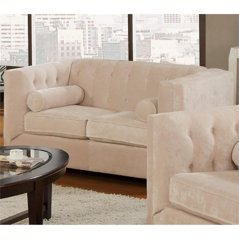 Bowery Hill Transitional Microvelvet Loveseat in Almond