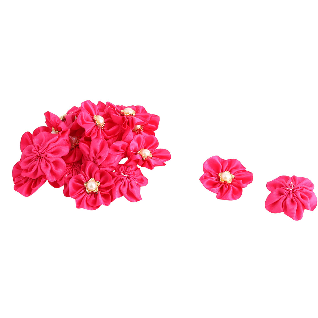 Lady Dress Hat Decor Satin Faux Pearl Inlaid DIY Ribbon Flower Fuchsia 20 Pcs