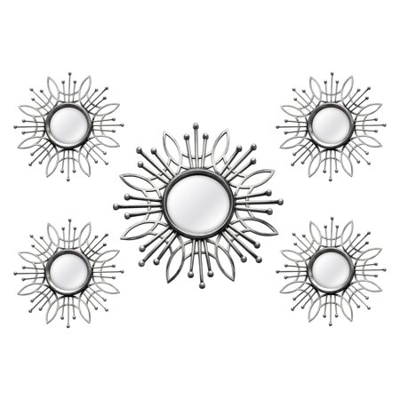 Stratton Home Decor 5 Piece Silver Burst Wall Mirror ()