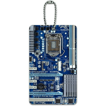 Blue Computer Motherboard Processor CPU Memory ID Tag Luggage Card for Suitcase or