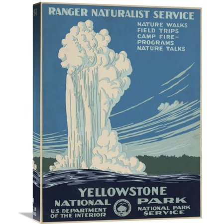Global Gallery Yellowstone National Park By Ranger Naturalist Service Vintage Advertisement On Wrapped Canvas