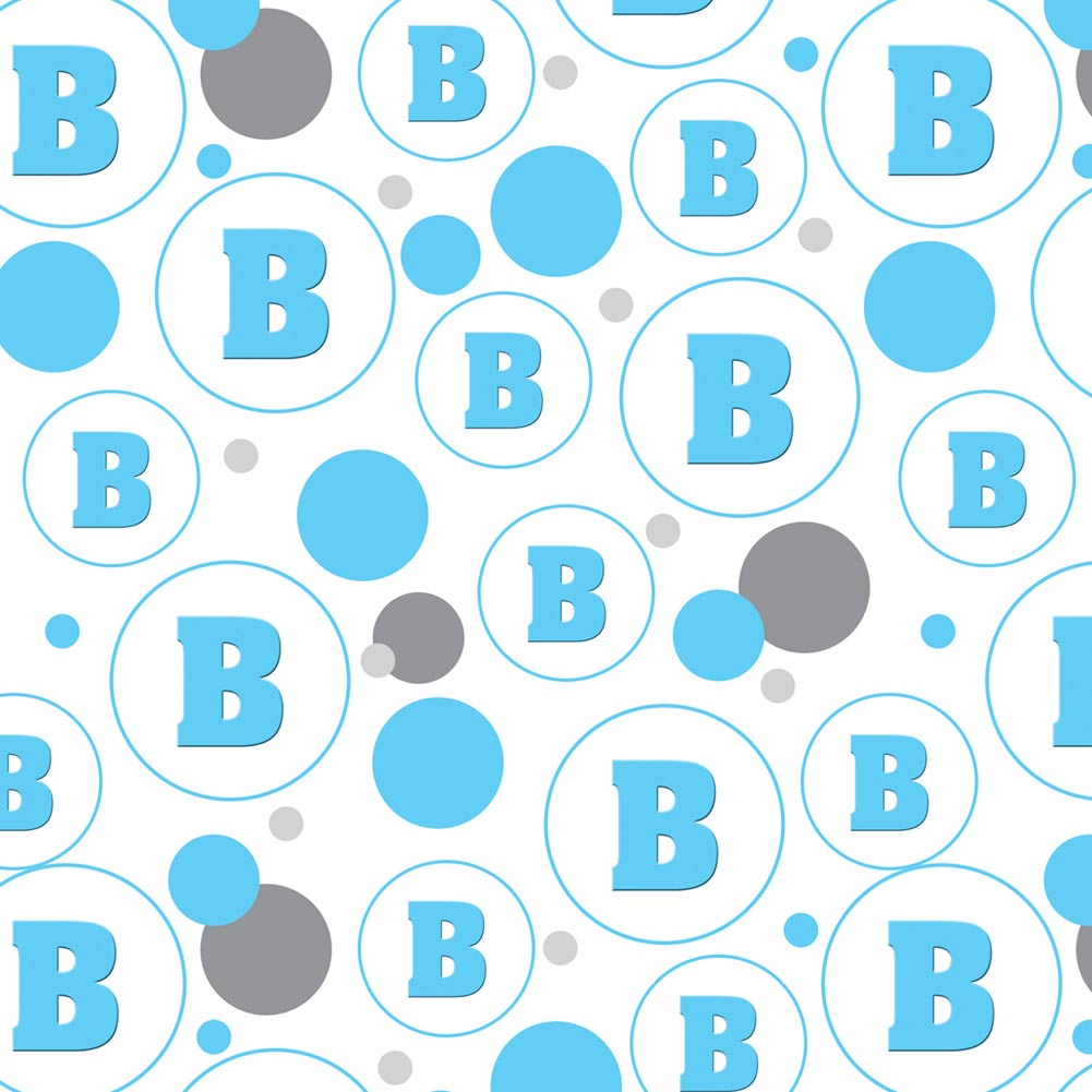 Letter B Initial Baby Boy Block Font Blue Shower Premium Gift Wrap