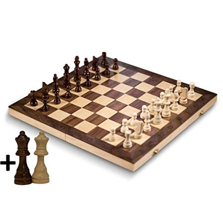 "GrowUpSmart Smart Tactics 16"" Folding Chess Set with Extra Queens Made by FSC Certified Wood - Standard Edition - image 1 of 4"