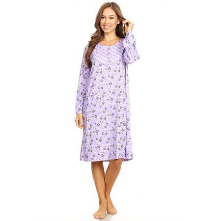 6010 Womens Nightgown Sleepwear Pajamas Woman Long Sleeve Sleep Dress Nightshirt Purple L