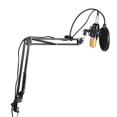 - Professional Broadcasting Studio Recording Condenser Microphone Mic Kit with Shock Mount Adjustable Suspension Scissor Arm Stand Mounting Clamp Pop Filter