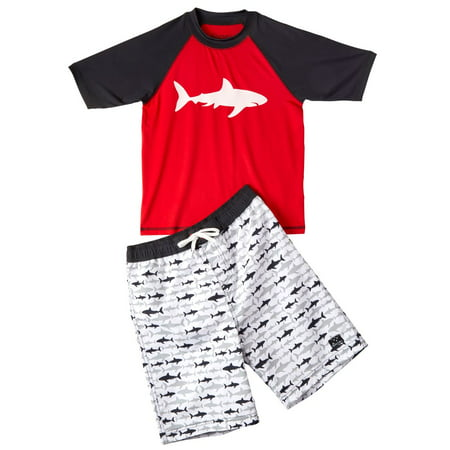 Big Chill Boys' 4-14 Short Sleeve Rash Guard Swim Shirt and Swim Trunks, 2-Piece Set with UV Protection