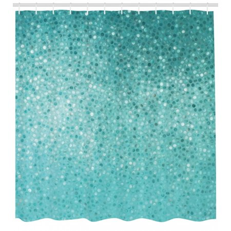 Turquoise Shower Curtain, Small Dot Mosaic Tiles Shape Simple Classical Creative Artful Design, Fabric Bathroom Set with Hooks, Teal Turquoise Seafoam, by Ambesonne