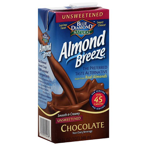 Blue Diamond Almond Breeze Unsweetened Chocolate Almond Milk, 32 fl oz (Pack of 12)