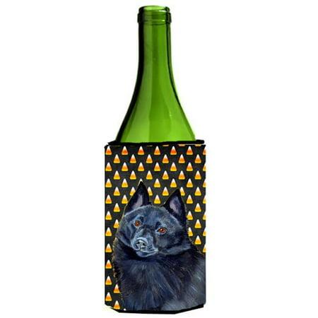 Schipperke Candy Corn Halloween Portrait Wine bottle sleeve Hugger - 24 oz. - image 1 de 1