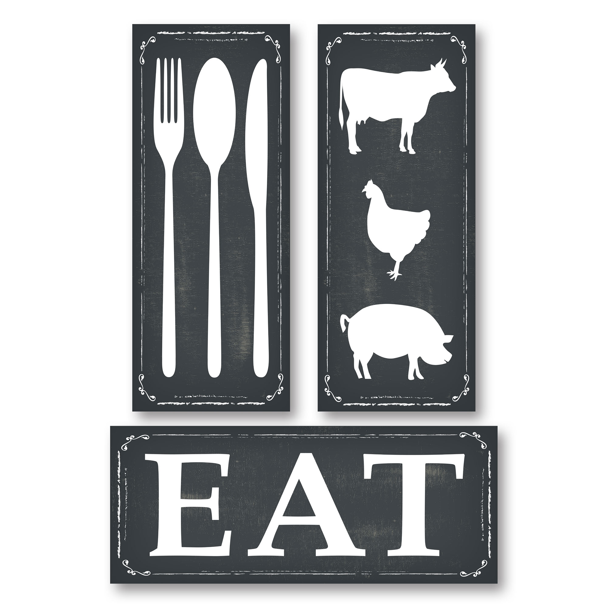 Chalkboard style knife fork spoon eat and farm animal panel prints printed