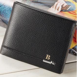 Men Cross Section Mock Leather Wallet Black