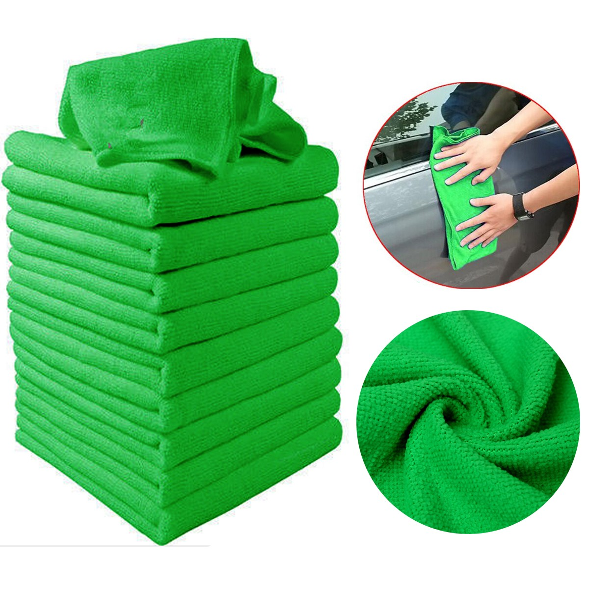 Grtsunsea 20Pcs Micro Fiber Cleaning Cloths Green Auto Car Care Detailing Microfiber Auto Duster Towel Wipes Cleaning Supplies