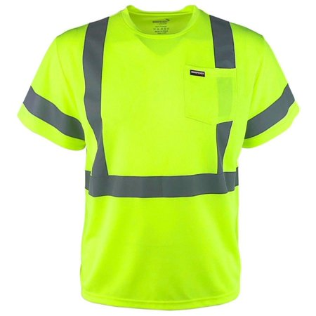Men's Workwear High Visibility Reflective Safety Shirt w/ Pocket (Mens Hi Visibility)