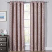 Pair Fannie 100% Blackout Curtain Panels - Woven Jacquard Triple Pass Thermal Insulated (Set of 2 Panels) - 108X84 - Cappuccino