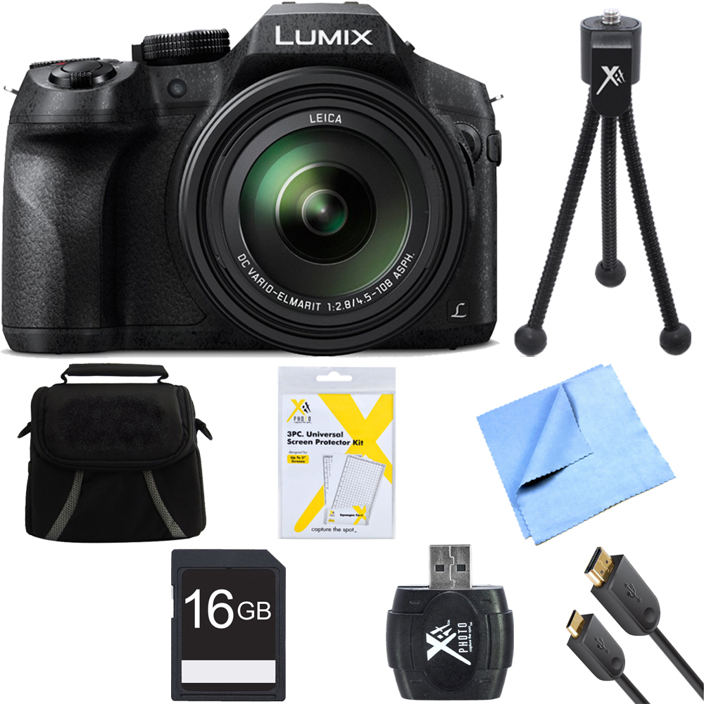 Panasonic DMC-FZ300K LUMIX FZ300 4K 24X F2.8 Digital Camera Black Bundle includes Camera, Gadget Bag, 16GB SD Card, Microfiber Cloth, 6 Foot HDMI Cable, Card Reader, Screen Protectors and Mini Tripod