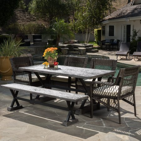 Christopher Knight Home Elliana Outdoor 6 Piece Picnic Dining Set By