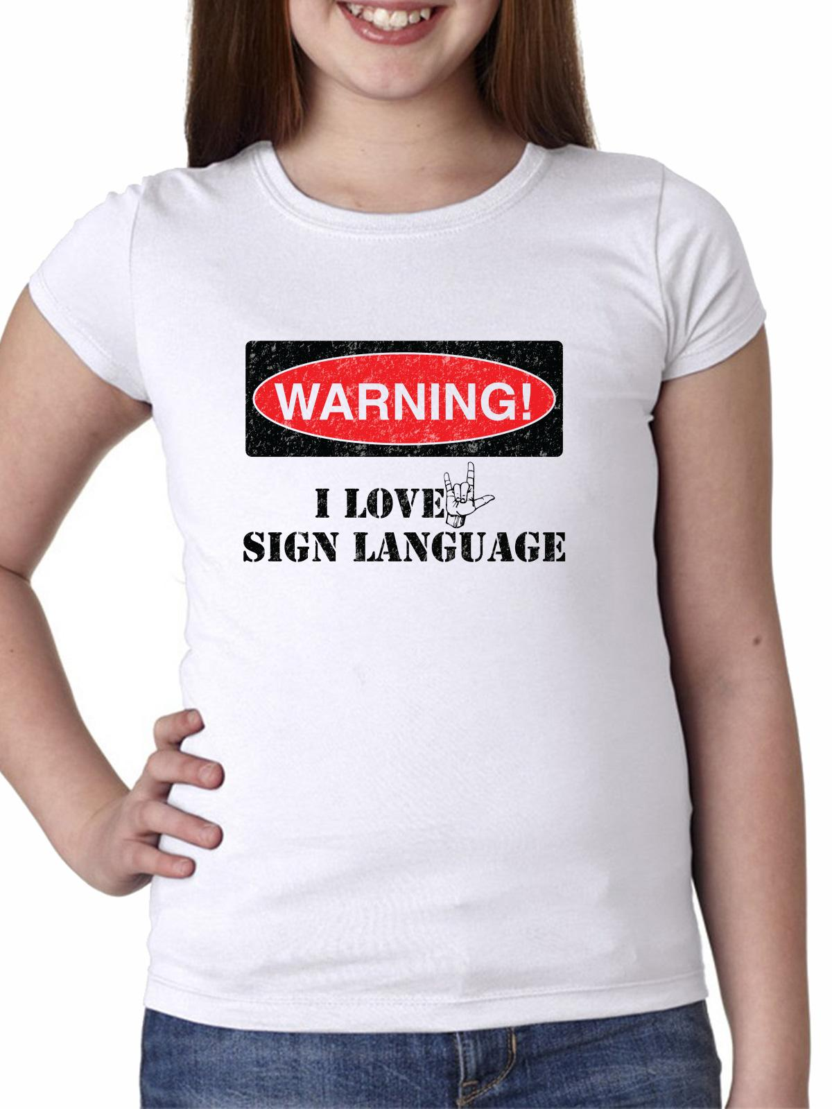 Warning I Love Sign Language - ASL Red & Black Girl's Cotton Youth T-Shirt