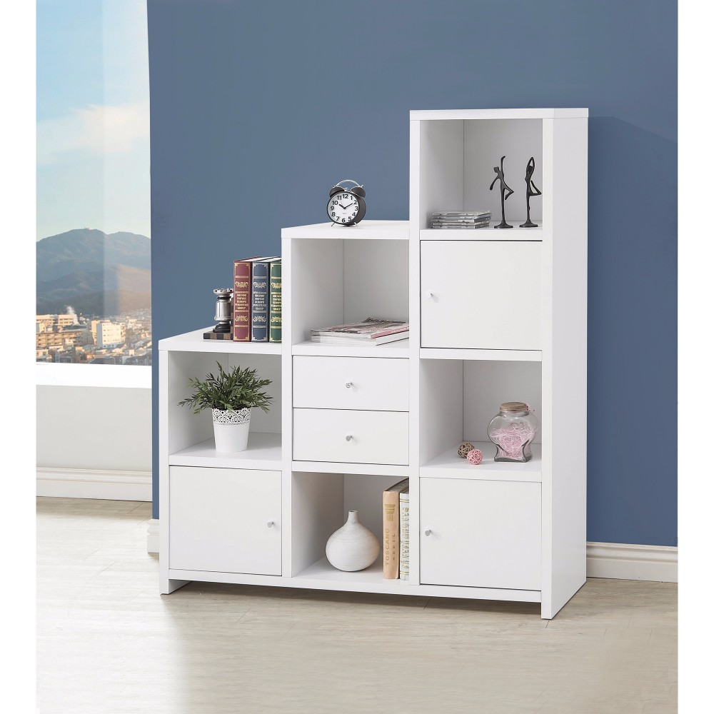 Asymmetrical Bookcase with Cube Storage Compartments, White