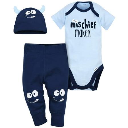 Gerber Newborn Baby Boy Short Sleeve Bodysuit  Pants   Cap  3Pc Set