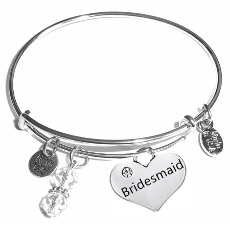 "Hidden Hollow Beads ""Bridesmaid"" Message Charm Expandable Wire Bangle Bracelet, COMES IN A GIFT BOX!"