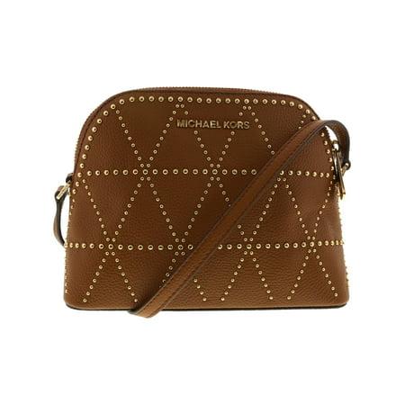 Michael Kors Luggage Leather - Michael Kors Women's Adele Medium Dome Leather Crossbody Cross Body Bag - Luggage