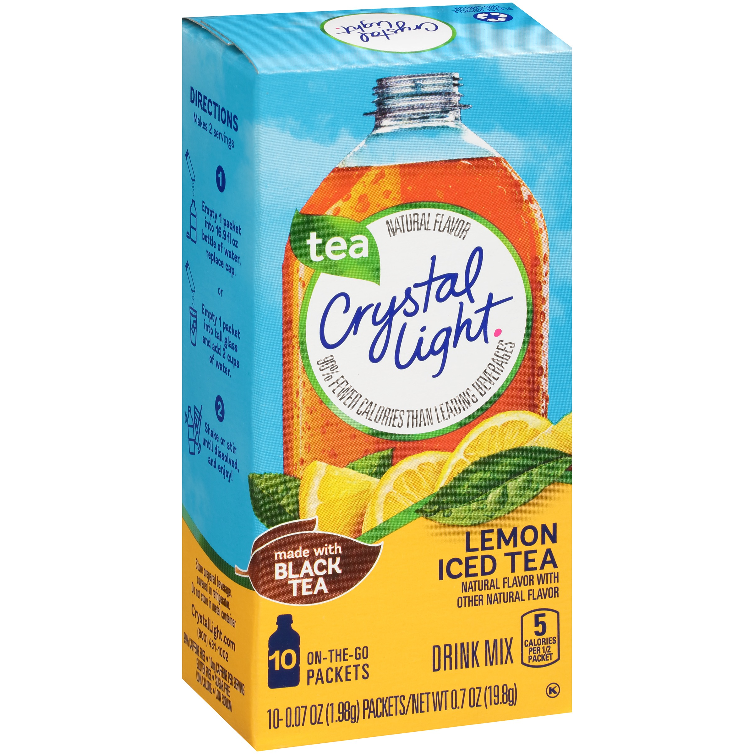 (30 Pack) Crystal Light On-the-Go Lemon Iced Tea Drink Mix, 10 - 0.07 oz Box