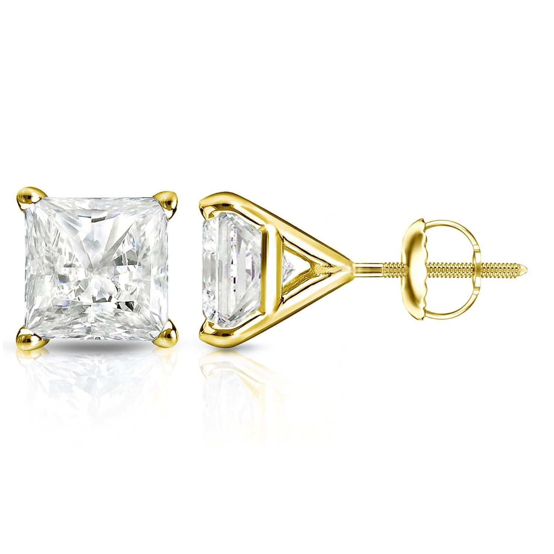 Auriya 14k Gold 1 25ct Tdw 4 Prong Martini Princess Cut Diamond Stud