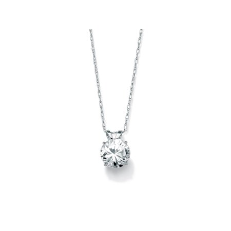 1.25 TCW Round Cubic Zirconia Solitaire Pendant Necklace in 10k White Gold -