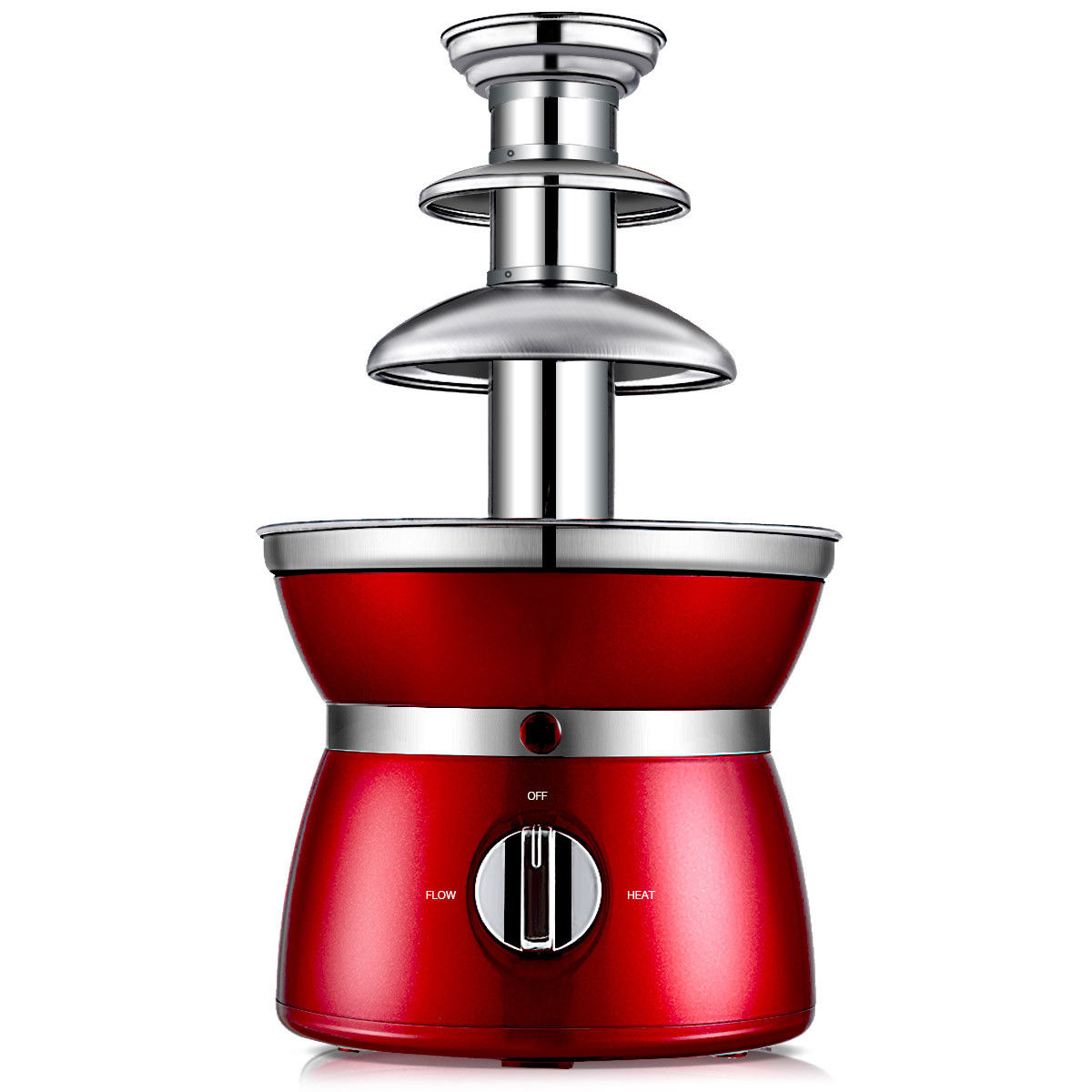 Gymax 3 Tiers Chocolate Fondue Fountain Stainless Steel Heated Home Household Party