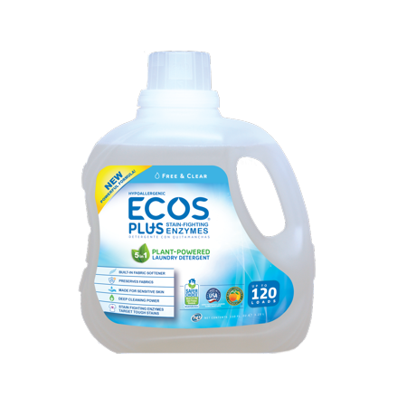 ECOS Plus Liquid Laundry Detergent with Stain-Fighting Enzymes, Free & Clear, 120 Loads, 110oz Free & Clear Laundry