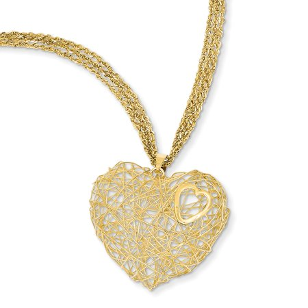 - 14K Yellow Gold Adjustable Triple Strand Chain with Heart Necklace, 16
