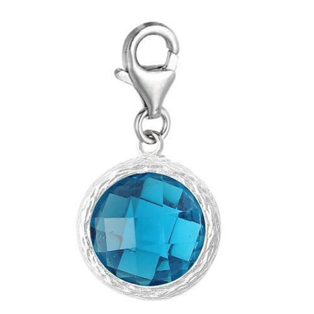 Clip on December Birthstone Charm Dangle Pendant for European Clip on Charm Jewelry w/ Lobster Clasp Costume Jewelry Charms