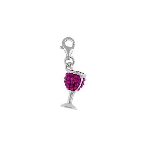 Doma Jewellery MAS00243-Cle Sterling Silver Crystal Charm- Wine Glass - Clear