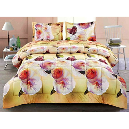 Unique Home 3 Piece Box Sched Erfly Camellia Flower Prints Faux Fur Bed In
