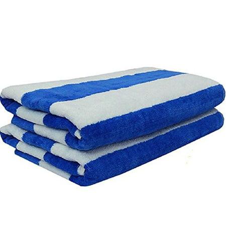 4 Jumbo White Blue Stripe Hotel Cabana Beach Pool Towel 30x60 Ga By Towels