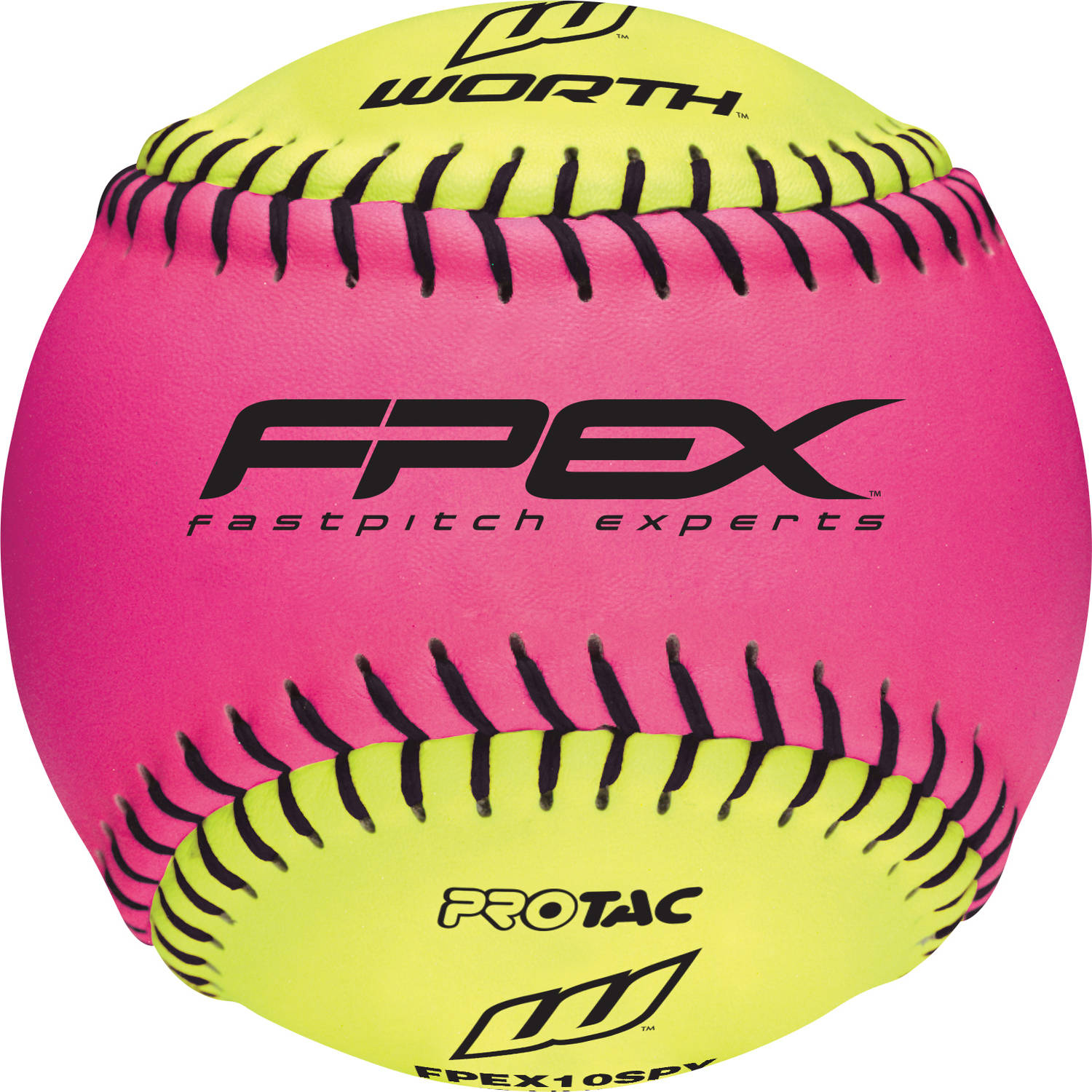 "Worth 10"" Training Pink/Yellow Softball (Singles) FPEX10SPY"