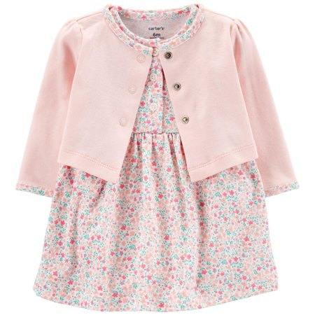Carters Baby Girls Floral Bodysuit Dress Cardigan Set 16W Short