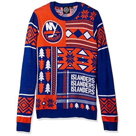 6f0027ed Klew NHL Men's New York Islanders Patches Ugly Sweater, Blue/Orange ...