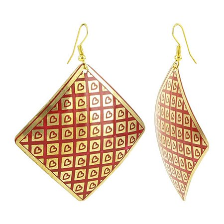 Gold Plated Red Enamel Hearts on 54mm Square Fashion Drop Earrings
