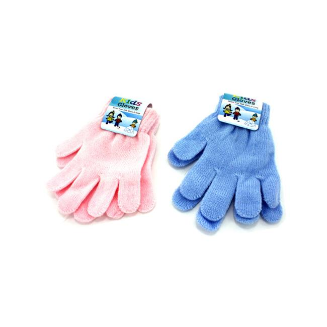 Kid & number 039; s gloves  assorted pink or blue - Case of 24