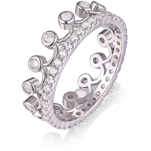swarovski 18kt white gold tone princess crown ring