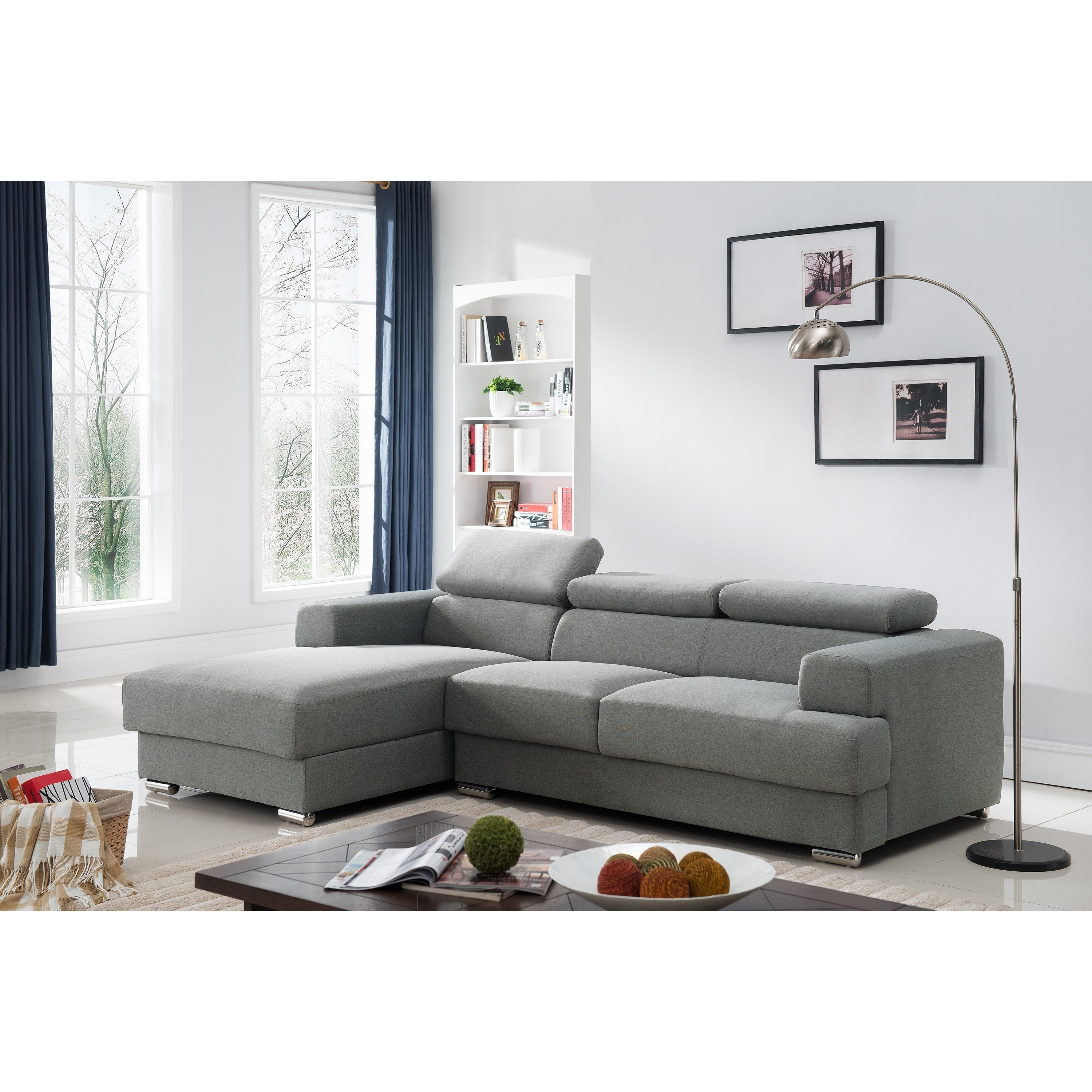 Gabriel Contemporary Fabric Upholstered 2-Pc Left Facing Sectional Sofa, Grey