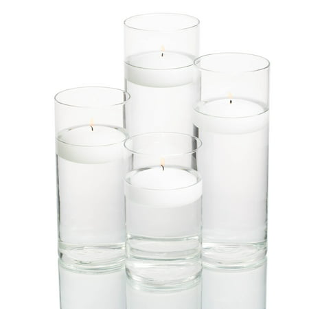 Richland Floating Candles & Eastland Cylinder Holders White Set of 4 - White Lantern Centerpieces
