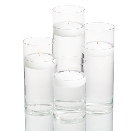 Richland Floating Candles & Eastland Cylinder Holders White Set of 4