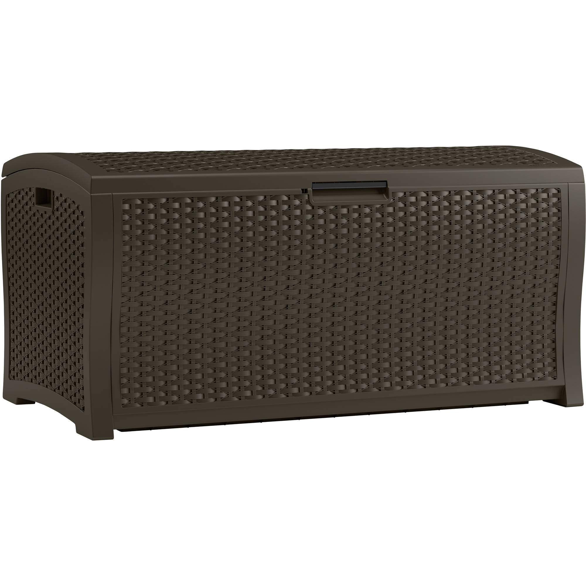 Suncast 122 Gallon Resin Wicker Deck Box, Java, DBW9935